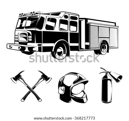 firefighters vector elements