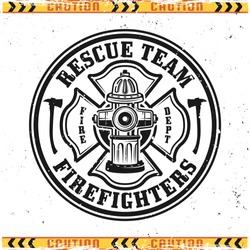 Firefighters vector round emblem, badge, label or logo in vintage style with fire hydrant isolated on background with grunge textures on separate layers