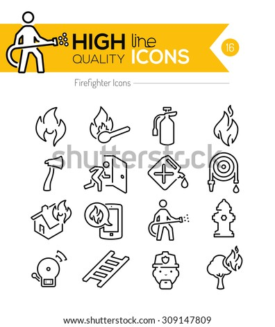 firefighting line icons series