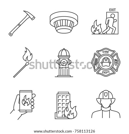 Firefighting linear icons set. Badge, matchstick, emergency call, smoke detector, evacuation, hydrant, axe, house on fire, firefighter. Thin line contour symbols. Isolated vector outline illustrations