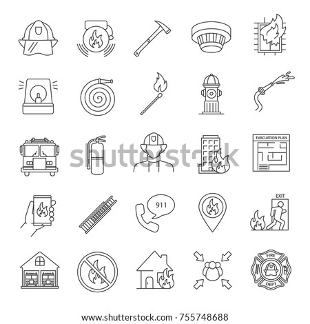firefighting linear icons set
