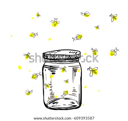 fireflies flying around the jar