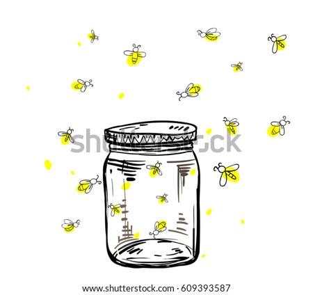 fireflies flying around the jar