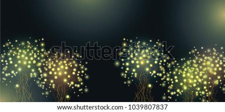 fireflies on the tree an