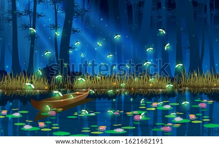 firefly and boat in the swamp in the full moon night Foto d'archivio ©