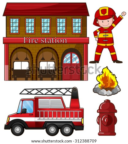 fireman and fire station...