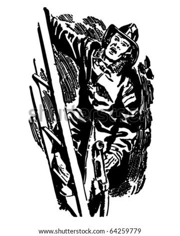 Fireman Climbing Ladder - Retro Clipart Illustration