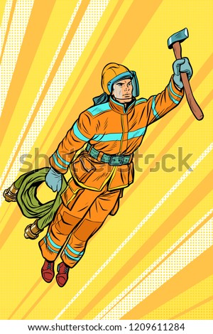 fireman, firefighter flying superhero help. Pop art retro vector illustration vintage kitsch