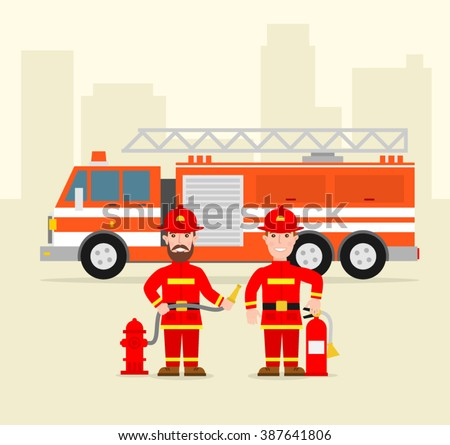 fireman firefighter in uniform with water hose fire extinguisher fire truck . firefighting concept illustration.