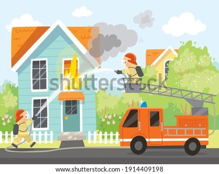 fireman put out house fire