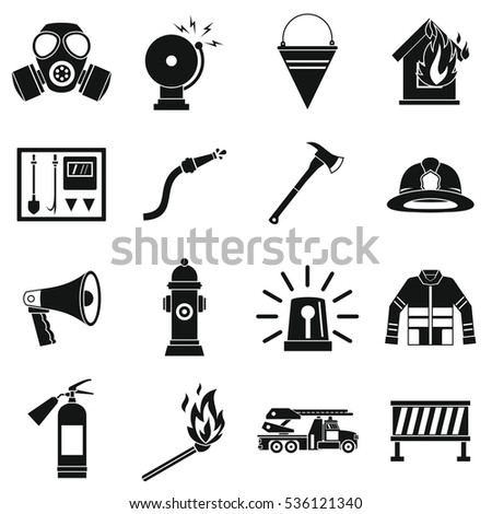 Fireman tools icons set. Simle illustration of 16 fireman tools vector icons for web