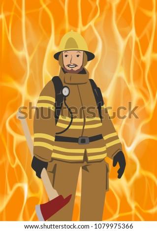 fireman with an axe on vivid