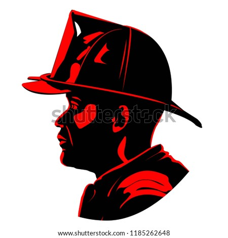 fireman with helmet two tone