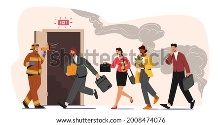 Fireman with Megaphone Announce Fire Emergency Evacuation Alarm. Alert Building Occupant Characters Escape Office in Life-threatening Situation, Hazard at Workplace. Cartoon People Vector Illustration