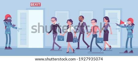 Firemen conducting regular fire and evacuation drills. Building employees, workers leaving office in alert, life-threatening situation, escape training control. Vector creative stylized illustration