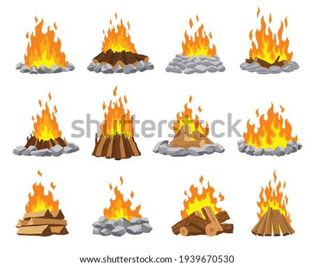 Fireplace campfire different types. Burning wood collection, travel and adventure symbol. Vector bonfire or woodfire in cartoon flat style set. A tourist bonfires in the diferent form of stack Сток-фото ©