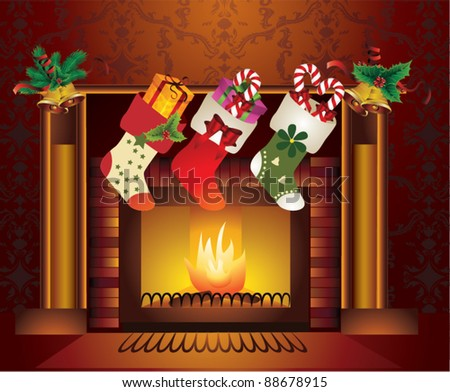 Fireplace Christmas.Vector