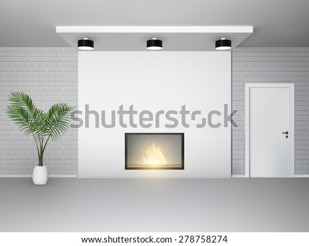 fireplace interior with palm
