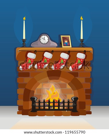 Fireplace on Christmas and New Year with decoration