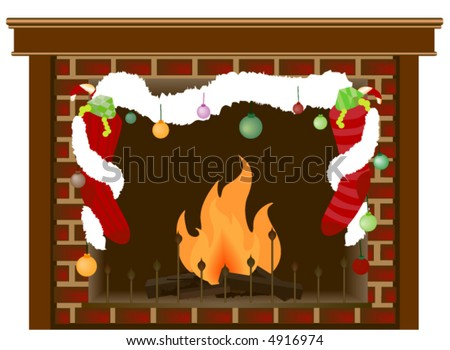 Fireplace with Christmas Decorations - Vector