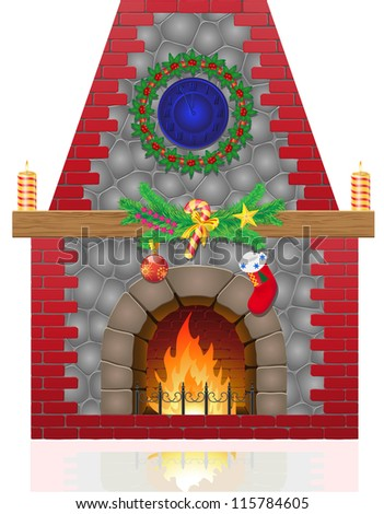 fireplace with christmas decorations vector illustration isolated on white background