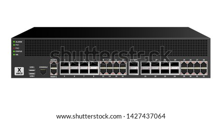 Firewall for mounting in a 19 inch rack with 16 ethernet ports, 16 optical  ports, 2 10G SFP+  ports and network management and control ports. Designed for carrier-class networks. Vector illustration.