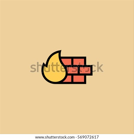 firewall icon flat design