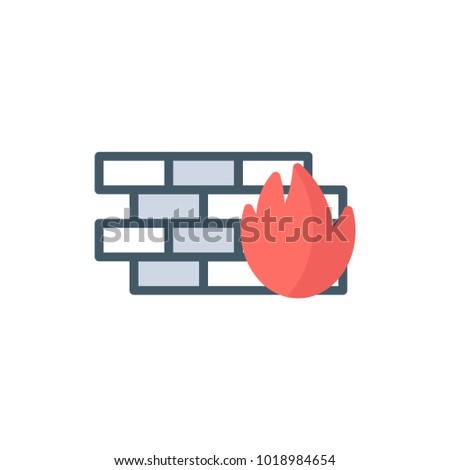 firewall icon flat icon vector