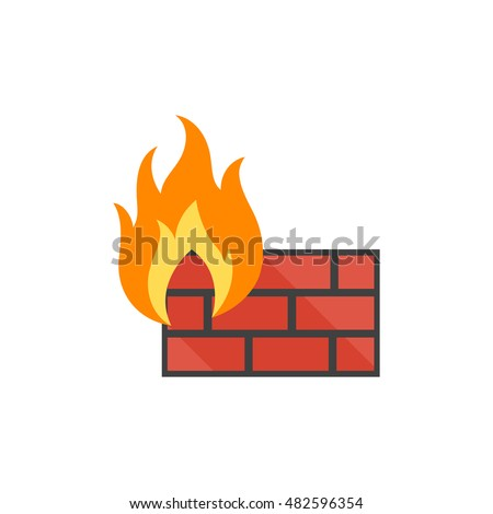 Firewall icon in flat color style. Computer network, internet protection, antivirus