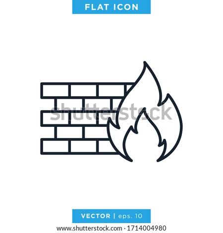 Firewall icon vector design template. Editable stroke Stock photo ©