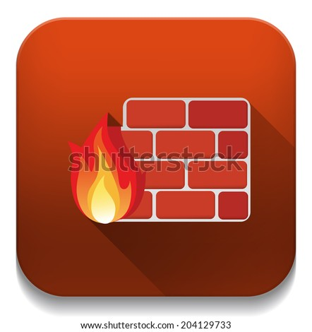 firewall icon with long shadow