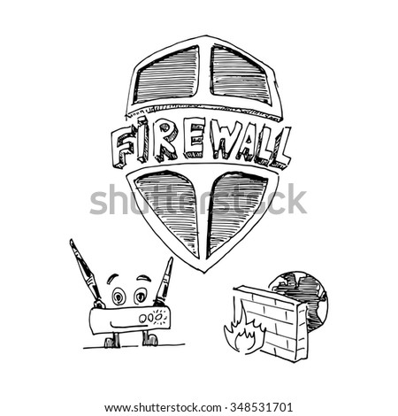 firewall icons vector