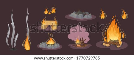 Firewood boards,bonfire of branches and logs, fire burning wooden logs, flaming and extinct fire bonfire and coals. Wood campfire. Wood material branches, planks, logs. Outdoor camping cartoon vector Foto stock ©