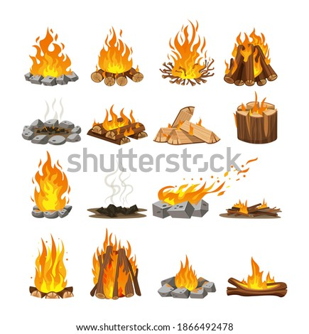Firewood boards, outdoor bonfire of branches, fire burning wooden logs, flaming, extinct fire bonfire, coals. Wood campfire. Wood material branches, planks, logs. Firewood flames, bonfire flame vector Сток-фото ©