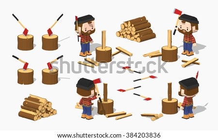 firewood chopping by lumberjack