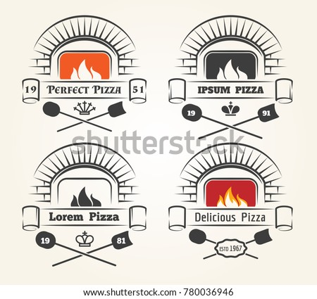 Firewood oven pizza logo. Traditional pizzeria emblems with fire, old wood fired brick oven and shovels isolated on white background, vector illustration