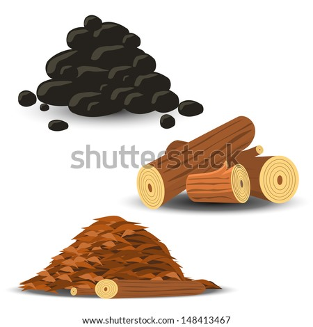Firewood Wood Chips and Coal