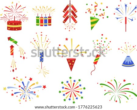 Firework  icon set. Firecracker, petard and stars. Happy New year, Holiday, Festival and party firework. Colorful icon collection. Poster design elements, invitations, greetings. Vector illustration
