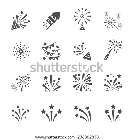 firework icon set 4  vector