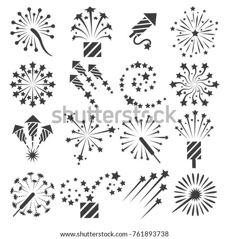 Firework icons. Celebration fireworks party signs and vector drawing celebrating petard symbols isolated on white background