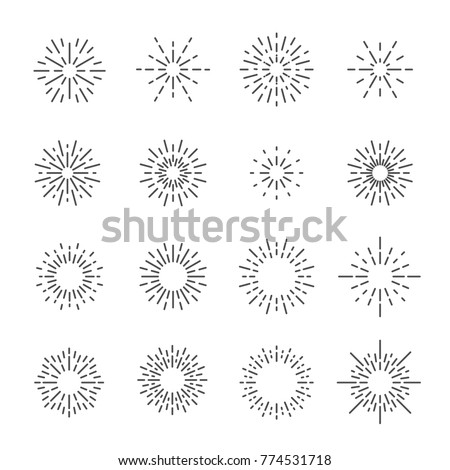 firework line icon set, vector eps10. stock photo