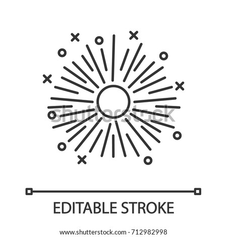 Firework linear icon. Pyrotechnics, firecrackers. Thin line illustration. Contour symbol. Vector isolated outline drawing. Editable stroke