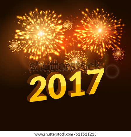 Firework new year 2017 holiday celebration template. Vector firework flame carnival event background.