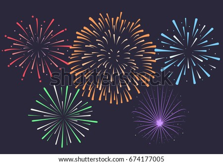 Firework on night background, anniversary bursting fireworks with stars and sparks. Vector stock photo