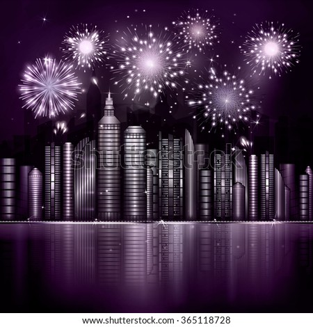 firework over night city with
