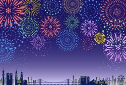 firework over the city