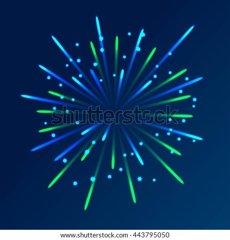 firework with blue and green