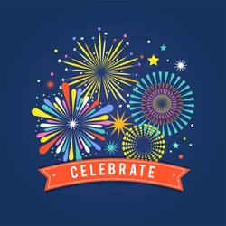 Fireworks and celebration background, winner, victory poster, banner