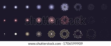 Fireworks animation. Animated firework explosion frames, party firecracker explosion storyboards. Fireworks explosions vector illustration set. Explosion sequence action, firework collection set