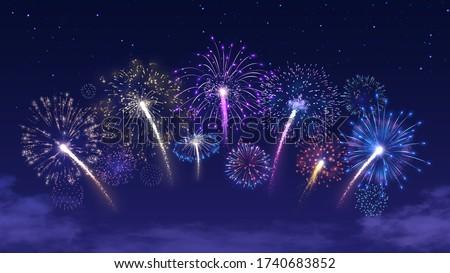 Fireworks arc on starry night sky. Firecracker festival, colorful firework burst and holiday celebration vector background illustration